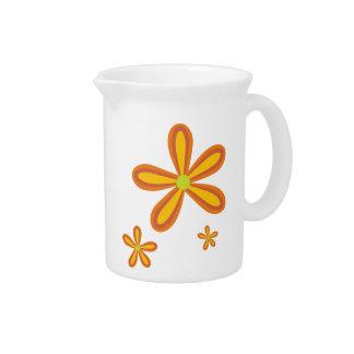 70ies retro orange flower pattern beverage pitcher