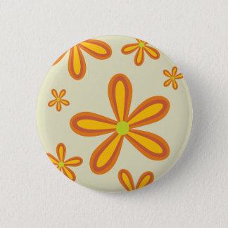 70ies retro orange flower pattern pinback button