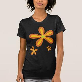 70ies retro orange flower pattern t-shirt