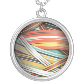 70s abstract stripes silver plated necklace