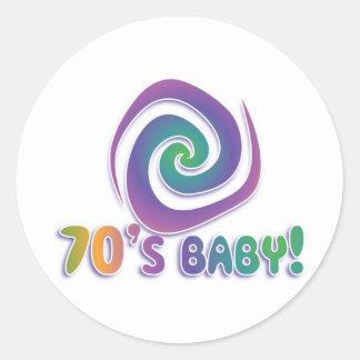 70's baby GROOVY! with swirl Classic Round Sticker