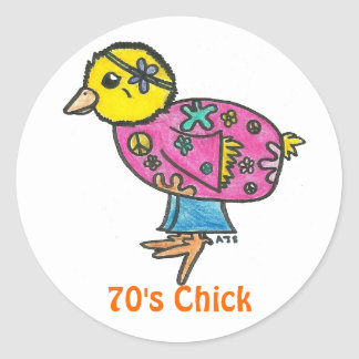70's Chick Classic Round Sticker