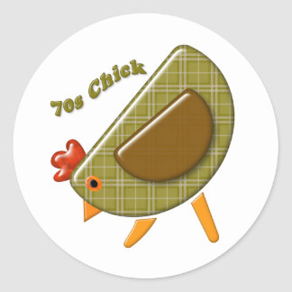 70s Chick Classic Round Sticker