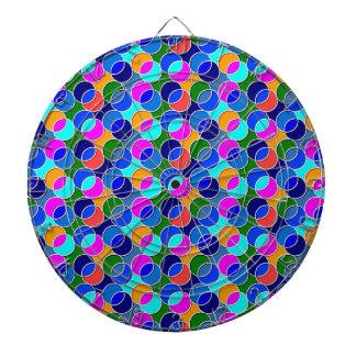 70s Circles blue pink Dartboard With Darts