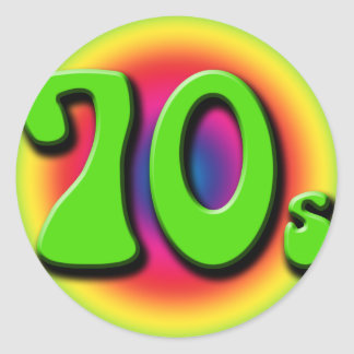 70s classic round sticker
