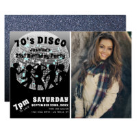70's Disco Birthday Photo | Silver Glitter Ball Invitation