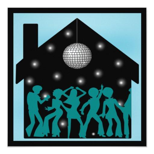 70s Disco Theme House Party 5.25x5.25 Square Paper Invitation Card