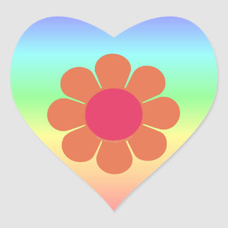 70's Flower Power Heart Sticker
