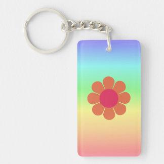 70's Flower Power Single-Sided Rectangular Acrylic Keychain