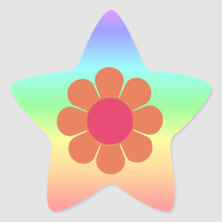 70's Flower Power Star Sticker