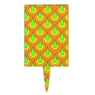 70s green orange pattern cake pick