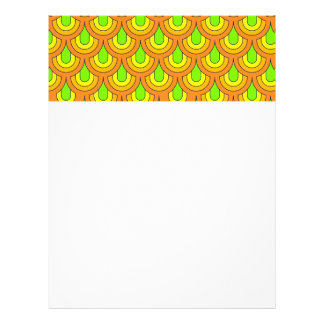 70s green orange pattern letterhead design