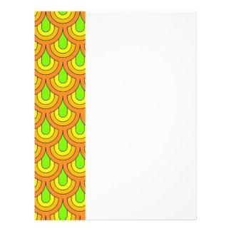 70s green orange pattern personalized letterhead