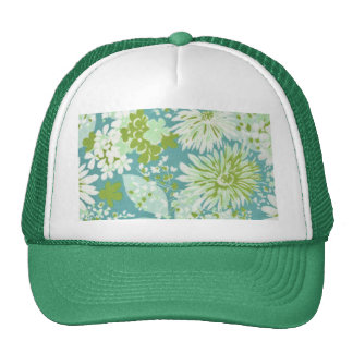 70's Green, White, Blue Floral Pattern Hat
