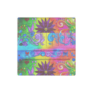 70's groovy hippie marble stone magnet