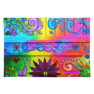 70's groovy hippie placemat cloth place mat
