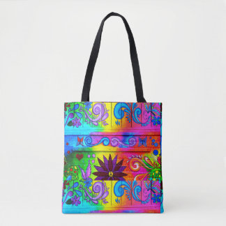 70's hippie  groovy flower power tote bag