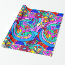 70's hippie peace and love wrapping paper
