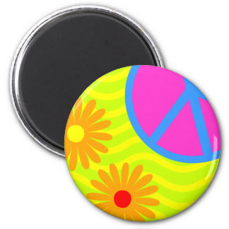 70's Hippie Peace Sign and Flowers 2 Inch Round Magnet