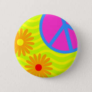 70's Hippie Peace Sign and Flowers Button