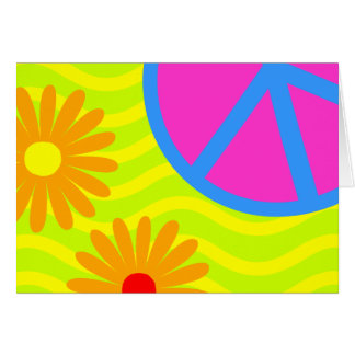 70's Hippie Peace Sign and Flowers Card