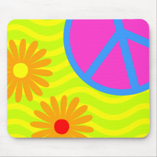 70's Hippie Peace Sign and Flowers Mouse Pad