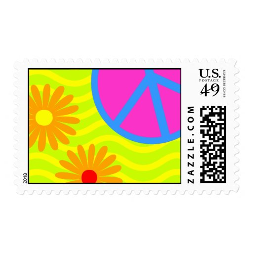 70's Hippie Peace Sign and Flowers Postage