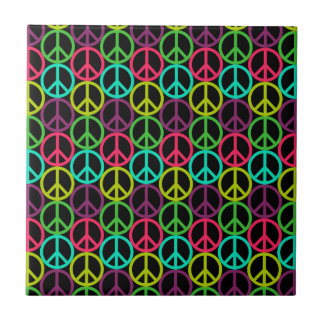 70's Hippie Peace Sign Pattern Ceramic Tile