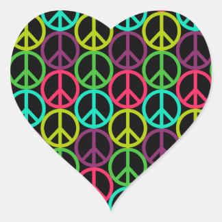 70's Hippie Peace Sign Pattern Heart Sticker