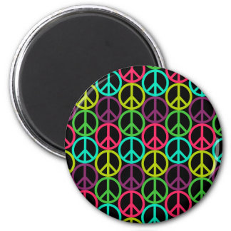 70's Hippie Peace Sign Pattern Magnet