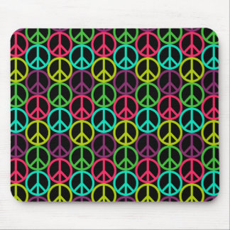 70's Hippie Peace Sign Pattern Mouse Pad
