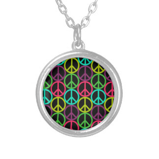 70's Hippie Peace Sign Pattern Custom Necklace