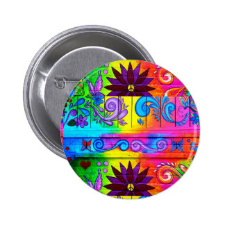 70's hippie psychedelic button