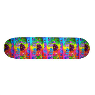 70's hippie psychedelic colors skateboard