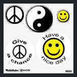 """70&#39;s Icons Wall Decal<br><div class=""""desc"""">A Peace Sign,  Give peace a chance Faces with Have a nice day and a Yin and Yang symbol make up this seat of 70&#39;s icons wall decals</div>"""