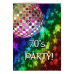 70s invitation with disco ball and rainbow of star card