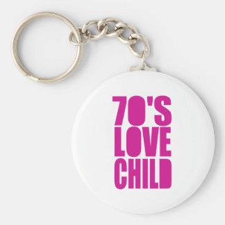 70's Love Child Basic Round Button Keychain