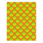 70s, naranja verde tarjetas postales