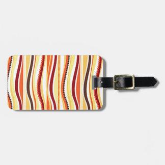 70s Orange Beaded Stripes Luggage Tag
