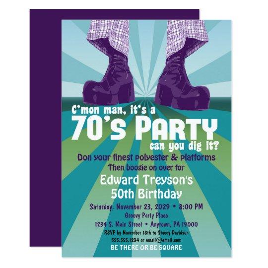 70s party invitation 1970s disco birthday zazzle com