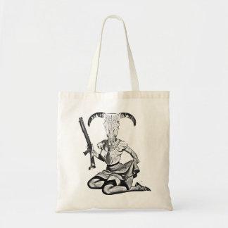 70's pin-up skull tote bag