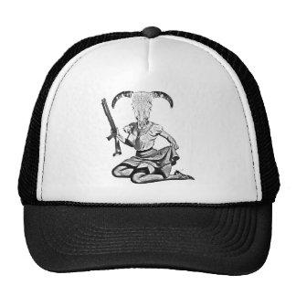 70's pin-up skull trucker hat