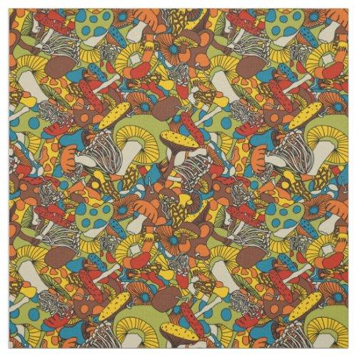 70s psychedelic mushroom fabric