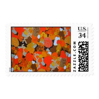 70's Retro Flowers Postcard Stamps