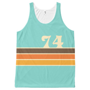 70's Retro Inspired Beach Chest Stripes All-over-print Tank Top at Zazzle