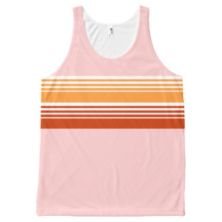 70's Retro Inspired Pink Color Chest Stripes All-Over Print Tank Top