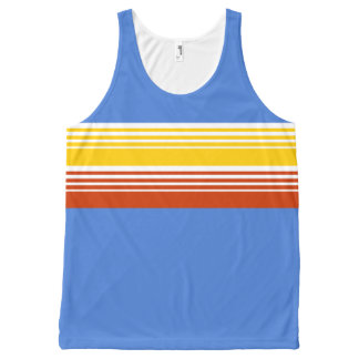 70's Retro Inspired Primary Color Chest Stripes All-Over Print Tank Top