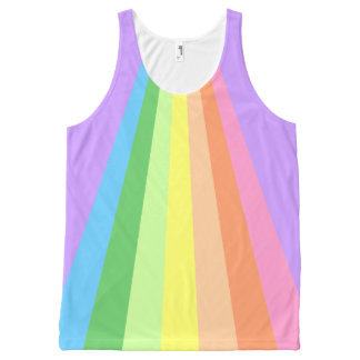 70's Retro Inspired Rainbow Stripes All-Over Print Tank Top