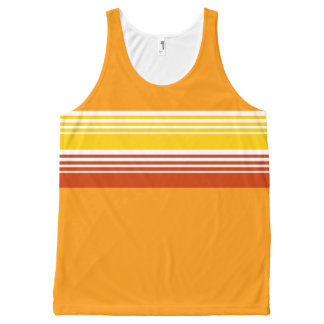 70's Retro Inspired Summer Color Chest Stripes All-Over-Print Tank Top