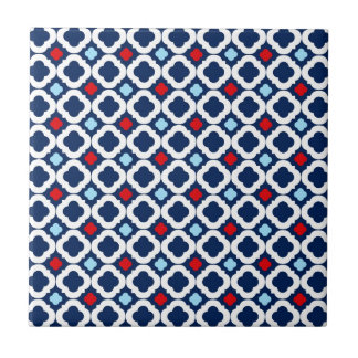 70s Retro Red, White, & Blue Ceramic Tile